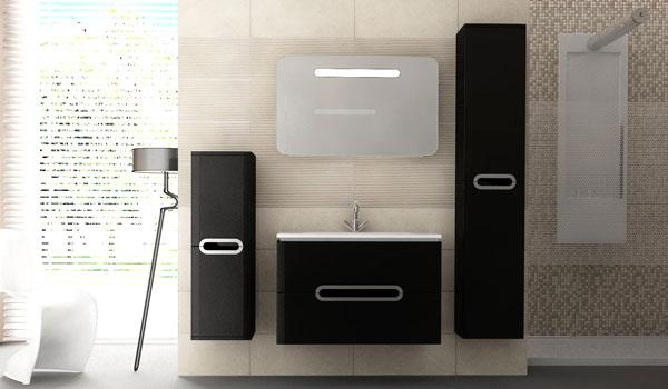 Комплект мебели для ванной Prato Ювента черного цвета