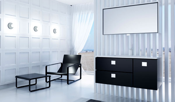 Комплект мебели для ванной Rimini Botticelli черного цвета