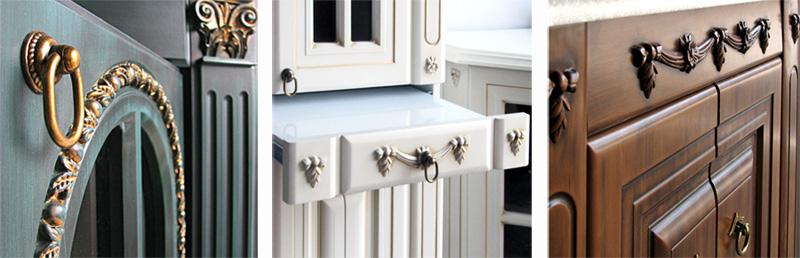 Патина на элементах мебели для ванной комнаты