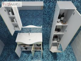 Зеркальный шкаф в ванную комнату TrnMC-60 правый Trento бежевый Ювента