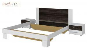 Кровать Vera орех черный 160 51 с двумя прикроватными тумбами Helvetia
