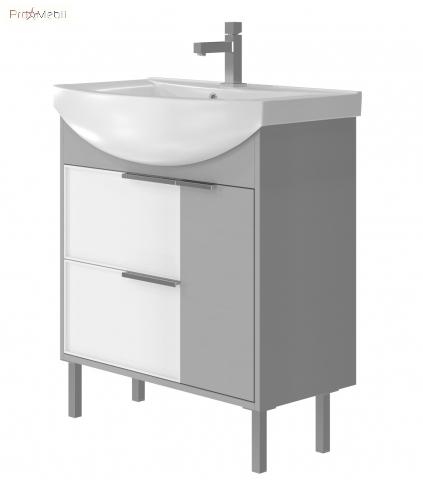 Тумба для ванной с умывальником Sf-75 серая Sofia Ювента