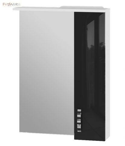 Зеркальный шкаф в ванную комнату TrnMC-60 правый Trento черный Ювента