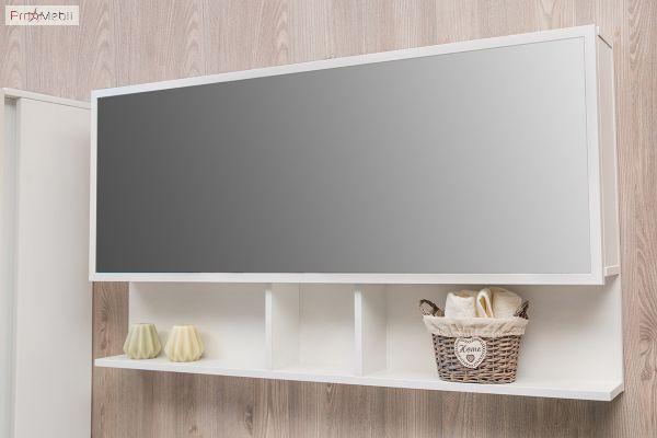 Зеркальный шкаф в ванную комнату белый профиль Butterfly 2-600 Fancy Marble