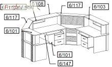 Комплект 3 мебель для секретаря Reception Салита