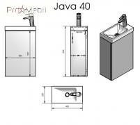 Тумба для ванной с умывальником подвесная Java 40 (ШН-400) Fancy Marble