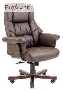 Кресло Конгресс дерево экокожа коричневое Richman