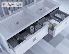 Двойная тумба для ванной с умывальником Rm-130d белый глянец Rimini Botticelli