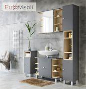 Зеркальный шкаф в ванную комнату Lotos графит VMV
