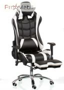 Кресло Extreme Race black-white with footrest Special4You