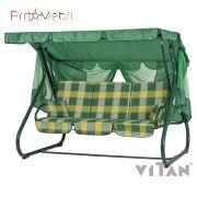 Качели садовые Вилла желто-зеленая клетка Vitan