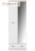 Шкаф с зеркалом Топ Микс белый/дуб сонома SZF 2D1S 60 VMV